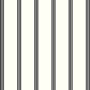 Off White with Black 3 Thin Stripes Printed on Crepe Chiffon Fabric