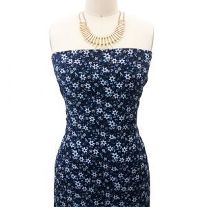 Navy with Blue Ditsy Floral Pattern Printed Wool Dobby Fabric by the Yard