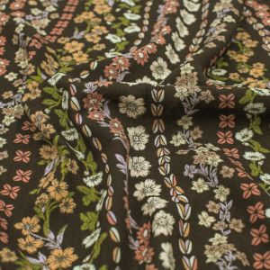 Brown Dusty Pink Bohemian Floral Design Printed Rayon Challis Fabric by the Yard