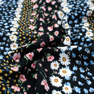 Black Blush Ditsy Floral Pattern Printed Wool Dobby Fabric by the Yard