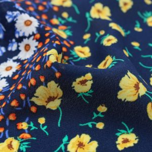 Navy Yellow Ditsy Floral Pattern Printed Wool Dobby Fabric by the Yard