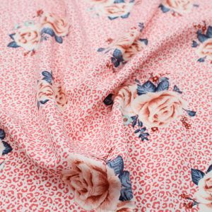 Coral Apricot Medium Floral with Animal Skin Pattern Printed Silex Polyester Spandex Fabric