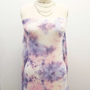 Dusty Lilac Pale Tie Dye Pattern Printed on Poly Power Mesh Fabric