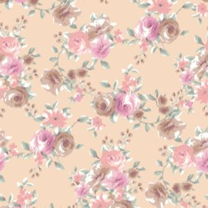 Blush Coral Floral Pattern with Medium Flowers Printed on Power Mesh Fabric