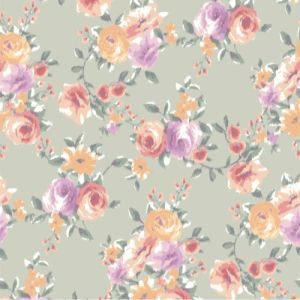 Sage Cantaloupe Floral Pattern with Medium Flowers Printed on Power Mesh Fabric