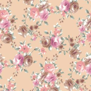 Blush with Coral Medium Flowers Printed on Rayon Spandex Jersey Knit Fabric