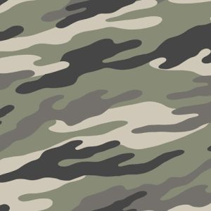 Army Green Charcoal  Camouflage Design Printed Hacci Non Brushed Fabric