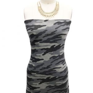 Grey Black Camouflage Design Printed Hacci Non Brushed Fabric