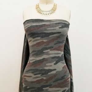 Grey Choco Camouflage Pattern Printed on Waffle Non Brushed Fabric