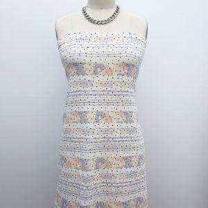 Ecru Dusty Blue Star Design Printed  French Terry Spandex Fabric
