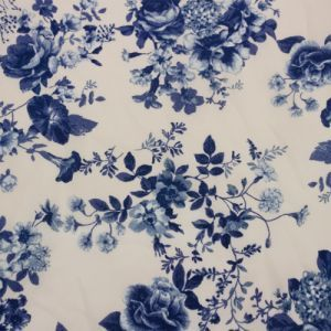 Cream Navy Small Floral Design Printed on Stretch Satin Fabric
