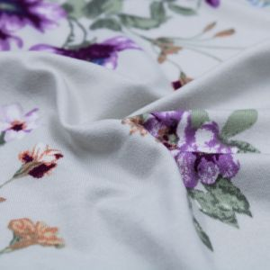 Silver Stone Violet Medium Floral Design Printed Double-Sided Brushed DTY Fabric