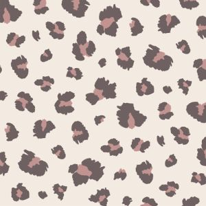 Champagne Dusty Rose Leopard Pattern Printed French Terry Fabric by the Yard