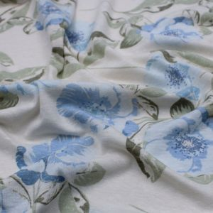 Ecru Blue Large Flowers Design Printed on Tri Blend Poly Cotton Rayon Fabric