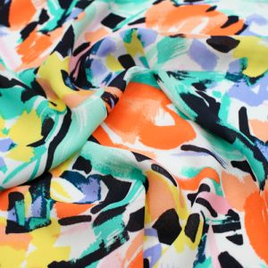 Off White Coral Green Floral Pattern Printed Wool Dobby Fabric by the Yard