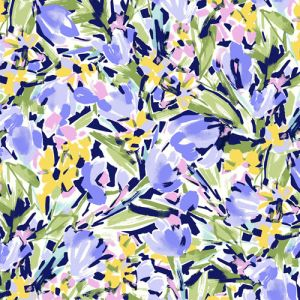 Off-white Blue Sage Floral Pattern Pattern Printed on Scuba Crepe Techno Knit Fabric by the Yard