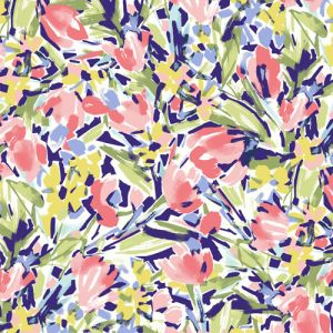 Off white Coral Green Floral Pattern Printed on Scuba Crepe Techno Knit Fabric by the Yard