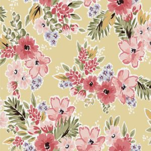 Banana and Coral Medium Floral Design Printed on 100% Rayon Crepon Fabric by the Yard