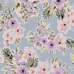 Grayish Blue and Lilac Floral Printed on Poly Moroccan Fabric by the Yard