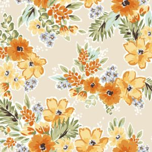 Rose Tan with Tangerine Floral Printed on Poly Moroccan Fabric by the Yard