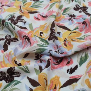Off White Mango Medium Flowers Pattern Printed Poly Moroccan Fabric by the Yard