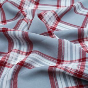 Silver Red Checkered Pattern Printed Wool Peach Fabric by the Yard