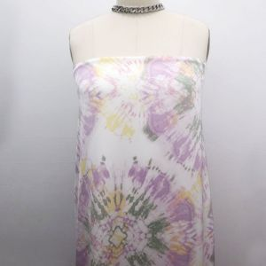 Off White Pink Tie Dye Ombre Pattern Printed Stretch Satin Fabric by the Yard