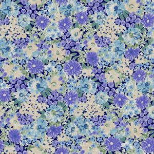 Lavender with Aqua Floral Pattern Printed on Rayon Spandex Jersey Knit Fabric