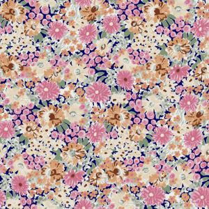 Pink Peach Floral Pattern Printed on Rayon Spandex Jersey Knit Fabric by the Yard
