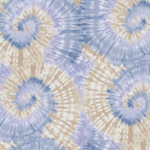 Blue Peach Tie Dye Ombre Design Printed French Terry Fabric by the Yard