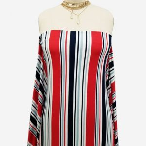 Navy Red Stripes Pattern Printed on Rayon Spandex Jersey Knit Fabric