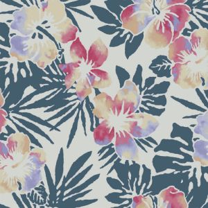 Ivory Coral Floral Pattern Printed on Rayon Crepe Viscose Fabric