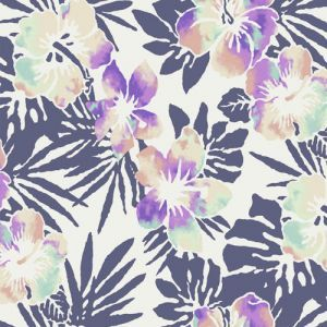 Ivory Lilac Floral Pattern Printed on Rayon Crepe Viscose Fabric