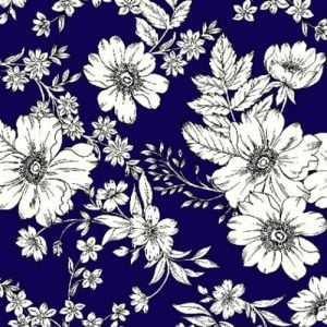 Navy Off White Floral Linear Pattern Printed Hi-Multi Chiffon Fabric