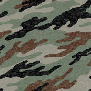 Army Green Brown Camouflage Pattern Printed on Cotton Lycra Fabric