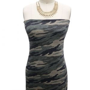 Army Green Charcoal Camouflage Pattern Printed on Cotton Lycra Fabric