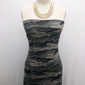 Army Green Charcoal Camouflage Pattern Printed Double-Sided Brushed DTY Stretch Fabric