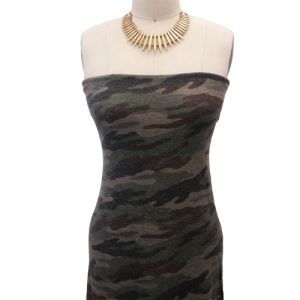 Army Green Brown Camouflage Design Printed Poly Rayon Spandex Hacci Brushed Fabric
