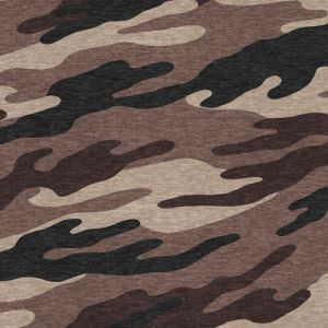 Mocha Black Camouflage Design Printed Poly Rayon Spandex Hacci Brushed Fabric