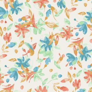Champagne Turquoise Abstract Floral Pattern Printed Poly Moroccan Fabric