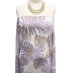 OffWhite Dusty Lilac Leaf Pattern Printed on Hi Multi Chiffon Wash Fabric