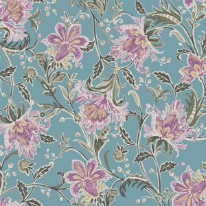 Angel Blue Pale Mauve Floral Print onon Tri Blend Poly Cotton Rayon Fabric by the Yard