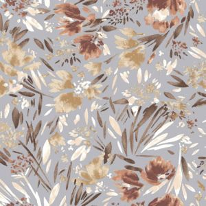 Pale Blue with Dusty Coral Floral Abstract Pattern Printed on rayon Crepon Fabric