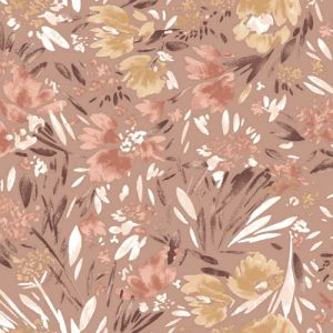 Rose Cloud with Banana Floral Abstract Pattern Printed on rayon Crepon Fabric