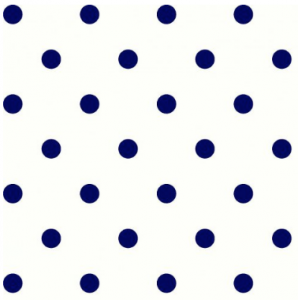 Off White Navy  Polka Dot Printed  on French Terry Spandex Fabric