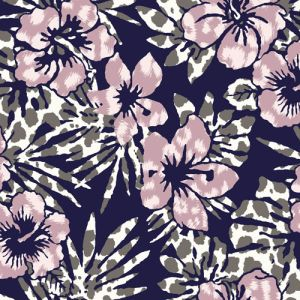 Navy Mauve Tropical Floral Pattern Printed Rayon Spandex Jersey Knit Fabric