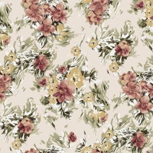 Champagne Coral  Floral Pattern on Doris Stretchy Crepe Knit Fabric by the Yard