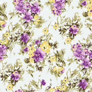 Pale Blue Orchid Floral Pattern on Doris Stretchy Crepe Knit Fabric by the Yard