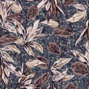 Blue Orchid Leaf Pattern Printed on Rayon Crepon Fabric by the Yard