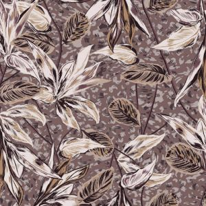 Taupe Mauve Leaf Pattern Printed on Rayon Crepon Fabric by the Yard